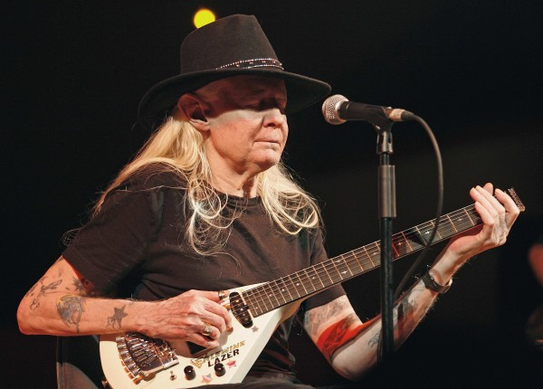 Legendary blues guitarist Johnny Winter performs at the Valencia Jazz Festival in 2008.