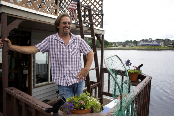 Guy Armstrong of Carmel is keeping his houseboat docked on the Bangor Waterfront throughout the summer months.