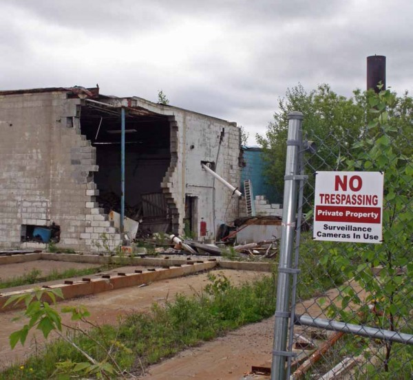 Shown is what used to be the corner of the main building of the Birds Eye vegetable processing plant on the corner of Route 1 and Fort Street in Caribou.