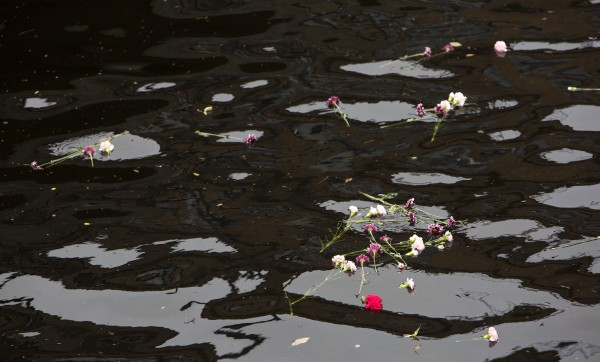 Flowers float down the Kenduskeag Stream after a Sunday church service at the Unitarian Universalist Society in Bangor to remember the 30th anniversary of the death of Charlie Howard.
