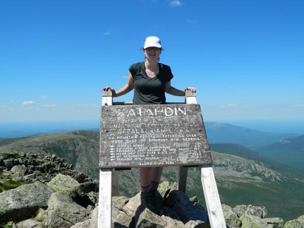 Rose Ross, 17, of Holden, stands on Baxter Peak, the summit of Katahdin, on June 27, 2014.