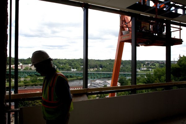Philip Johnston leads a tour of the new Capital Judicial Center -- still under construction -- in Augusta on Thursday.