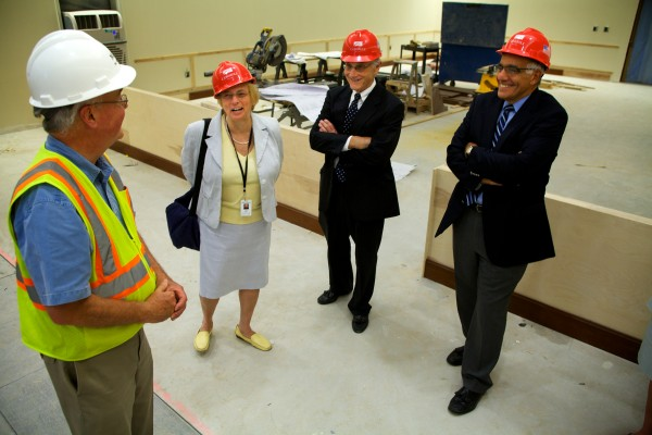 Philip Johnston (from left) gives Maine Attorney General Janet Mills, Kennebec County Deputy District Attorney Ferdinand &quotFern&quot Larochelle and Maine Supreme Judicial Court Justice Joseph M. Jabar a tour of the new Capital Judicial Center -- still under construction -- in Augusta on Thursday.
