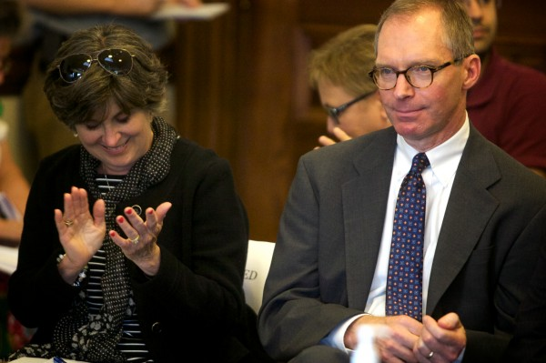 Superior Court Justice Jeffrey L. Hjelm smiles as the Legislature's Judiciary Committee endorsed him for a spot on Maine's Supreme Judicial Court in Augusta on Thursday. Mary Ann Lynch, media liason to the courts, applauds.