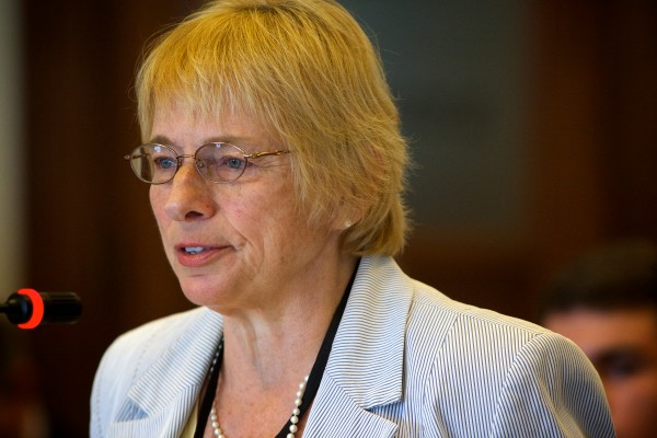 Maine Attorney General Janet Mills speaks in favor of Deputy Attorney General William Stokes as the Legislature's Judiciary Committee considered endorsing him for a judgeship on the Superior Court.