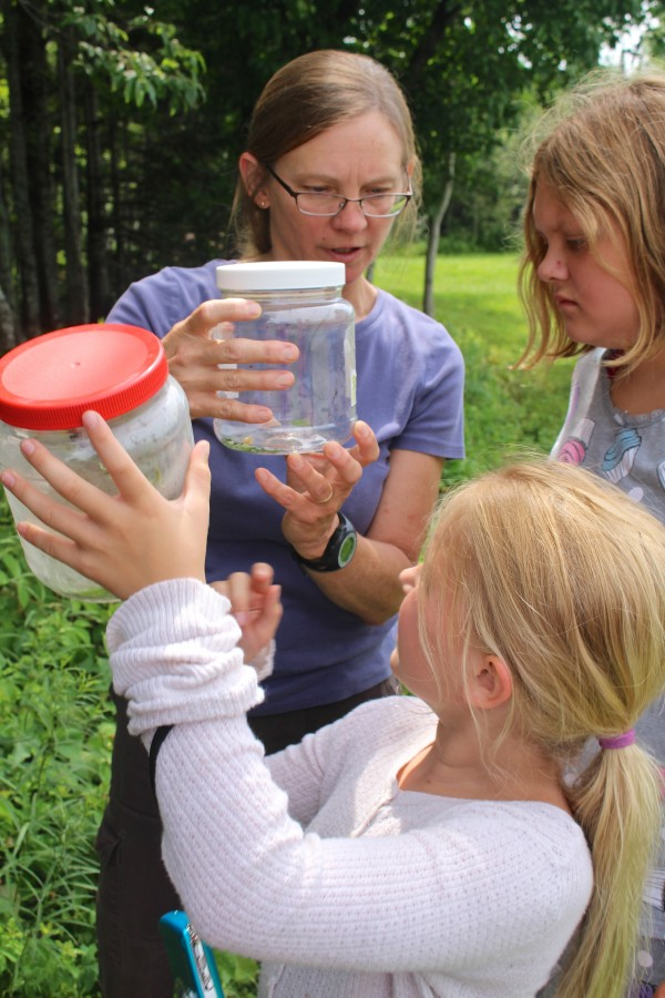 Donne Sinderson (from left) talks with sisters Brianna Fuhrer, 9, and Miracle Redden, 12, of Glenburn about Maine spiders at a family-friendly workshop hosted by the Bangor Land Trust at West Penjajawoc Grasslands recently in Bangor.