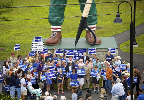 U.S. Senate candidate Shenna Bellows spoke in front of Bangor's Paul Bunyan while making a campaign stop in Bangor on Tuesday as part of her campaign trek across Maine.