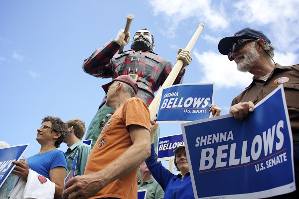 Mark Nyborg (center) and Jim Keene showed up to support U.S. Senate candidate Shenna Bellows, who made a campaign stop in Bangor on Tuesday as part of her campaign trek across Maine.