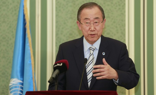 United Nations Secretary-General Ban Ki-Moon speaks at a joint news conference with Qatar's foreign minister Khaled al-Attiya in Doha July 20, 2014. Ban condemned as an &quotatrocious action&quot the killing of dozens of Palestinians in the Gaza Strip by Israeli shelling on Sunday and called for an immediate end to almost two weeks of fighting that has cost more than 400 lives.