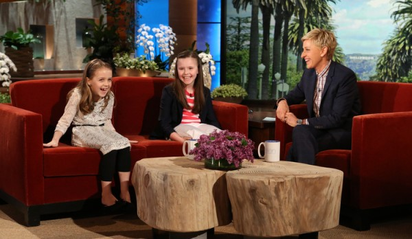 Alice Willette, left, and Gabbie St. Peter talk with Ellen Degeneres in April about their efforts to raise money and donations for the George J. Mitchell School's food pantry in Waterville.