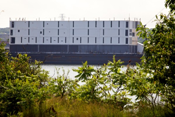 The Google barge, which has been in Portland since last fall, has been moved to Turner Island Terminal in South Portland.