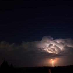 Lightning strikes during a thunderstorm in Bangor in July 2013.