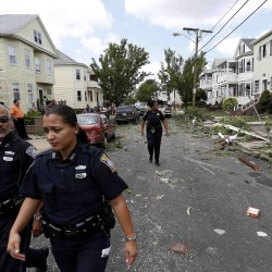 Rare tornado slams Boston area, knocks out power
