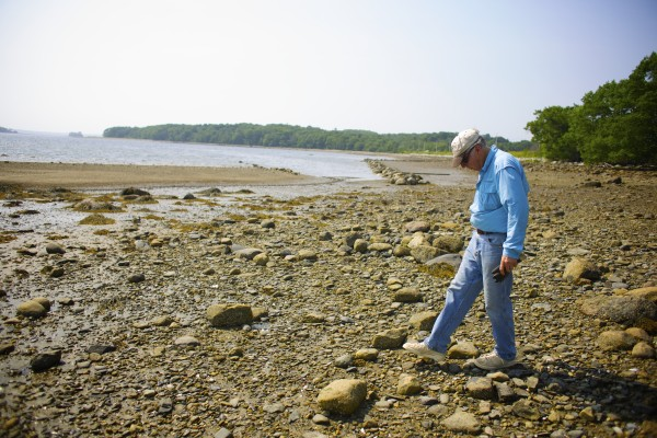 Bob Ramsdell looks for clams in an area of the harbor adjacent to the GAC Chemical Corp. plant.