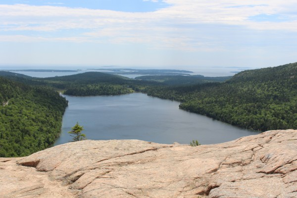 Jordan Pond is seen from the South Bubble Trail on July 6, 2014, near the summit of South Bubble mountain in Acadia National Park on Mount Desert Island.