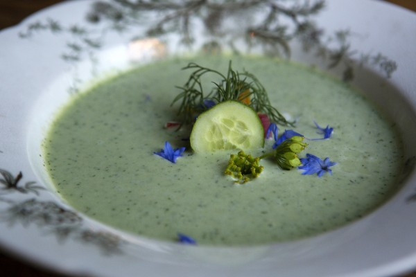 A cold cucumber and buttermilk soup with roasted beets, creme fraiche and dill is seen Wednesday at The Lost Kitchen, 22 Mill Street, in Freedom.