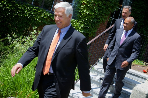 U.S. Rep. Mike Michaud strolls out of Portland's Cumberland Club Monday afternoon trailed by Massachusetts Gov. Deval Patrick and Vermont Gov. Peter Schumlin. The New England governors were in town to help raise money for Michaud's gubernatorial bid.