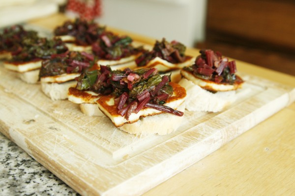 Fried Halloumi Cheese with Beet Greens Bruschetta
