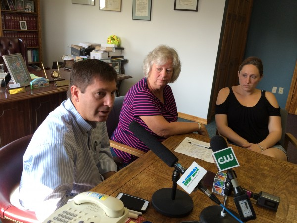Rep. Kenneth Fredette, R-Newport, left, speaks about reducing new odor limits set by the Maine Department of Environmental Protection. Upset residents Linda Seavey and Paula LeBlanc, who runs PJ's Childcare, sit beside him.