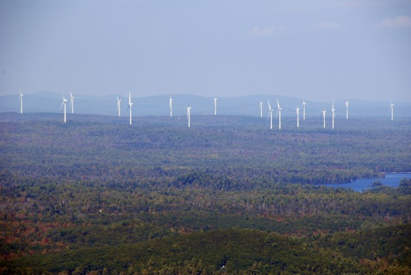 The wind turbines erected by First Wind in Township 16 are visible from the Schoodic Mountain summit in eastern Hancock County in 2013.