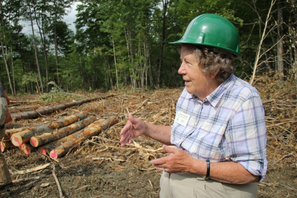 Sherry Huber, executive director of the Maine TREE Foundation, spoke to teachers about the forest products industry. &quotWe need to figure out a way of getting young people into the business,&quot she said.