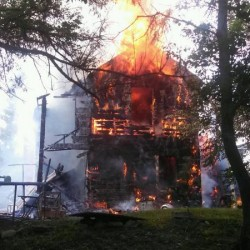 Fire destroys old Winn farmhouse