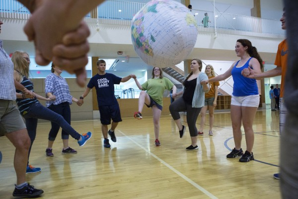 Medomak Valley students try to keep a ball in the air during a team building exercise as part of the Bridge Year program Wednesday at the Recreation and Fitness Center at the University of Maine.
