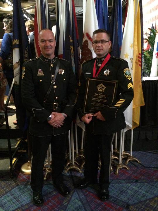 Sgt. John Bourque (right) of the Kennebec County Sheriff's Office and Sheriff Randall Liberty after Boruque was awarded with the nation's Deputy Sheriff of the Year award in Fort Worth, Texas, recently.