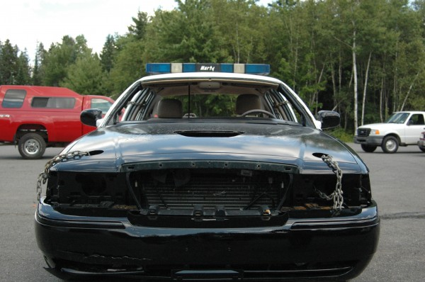 The Bangor Police Department, along with Bouchard & Sons towing in Hermon, will be entering this 2004 Ford Crown Victoria in the Big Bang Destruction Derby on Thursday, July 31, as part of the 2014 Bangor State Fair.