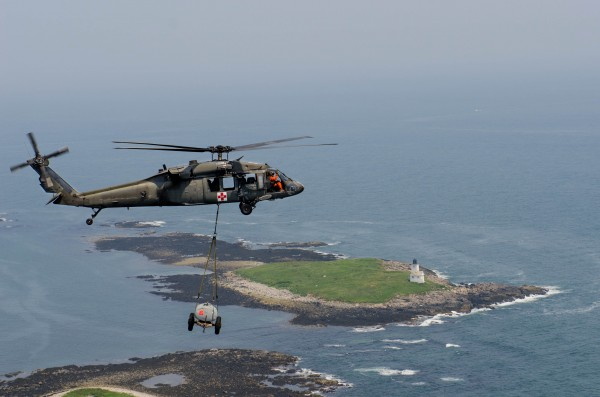 Two Black Hawk helicopters from the Bangor-based Maine Army National Guard's 126th Aviation Medevac unit traveled Tuesday to the scene of a mock fire on Criehaven Island.