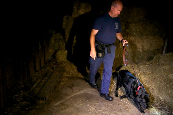 Russ Whitney of Salt Lake City, Utah and his arson investigation dog Daz look for accelerants. Daz sniffed for just three drops of gasoline, and found the spot.