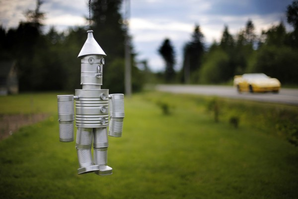 Another tin man, made from cans and a funnel, hangs near Route 6 near Lee, Maine.