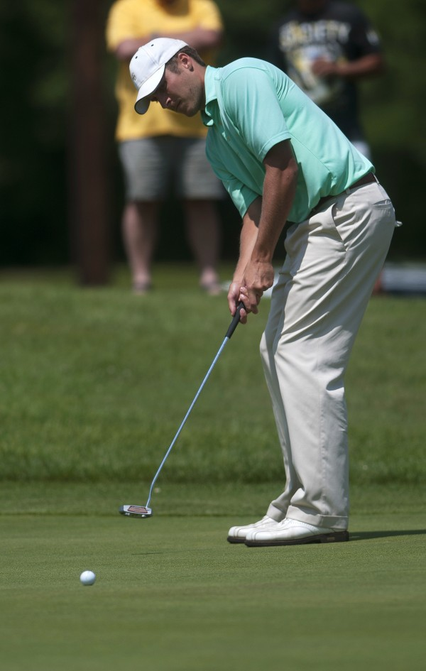 Jesse Speirs putts during the second round of the Greater Bangor Open Friday at the Bangor Municipal Golf Course.