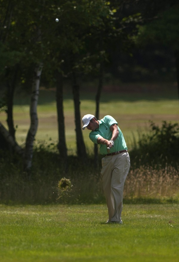 Jesse Speirs hits to the green during the second round of the Greater Bangor Open Friday at the Bangor Municipal Golf Course.