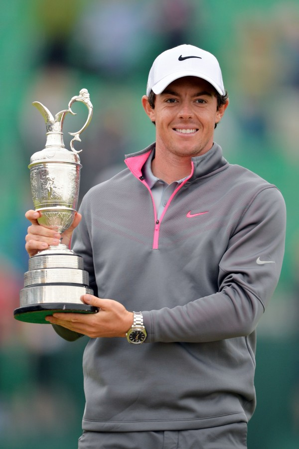 Rory McIlroy poses with the Claret Jug after winning the 143rd Open Championship at The Royal Liverpool Golf Club on Sunday.