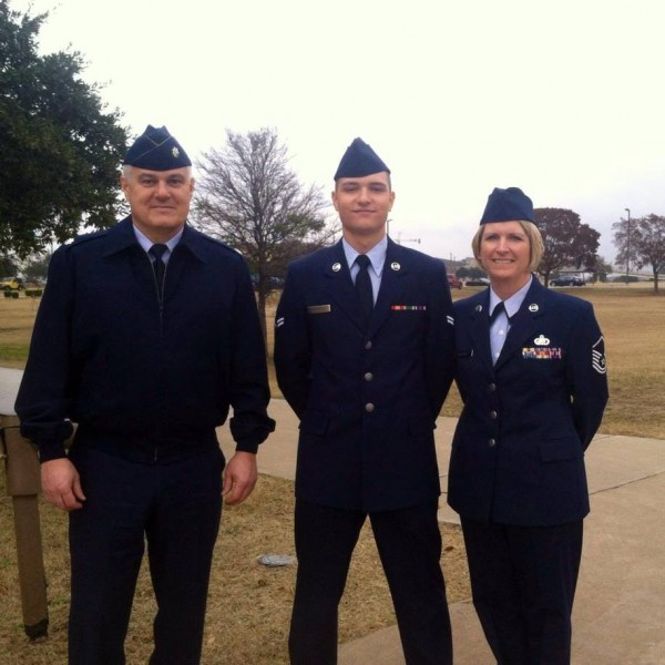 "Lt. Col. Steven Michaud and his wife, Master Sgt. Anntina ""Tina"" (Arnold) Michaud, pose with their son, Casey Michaud, who joined his parents as a MAINEiac when he enlisted with the 101st Air Refueling Wing in Bangor in March 2013, prior to graduating from Orono High School."