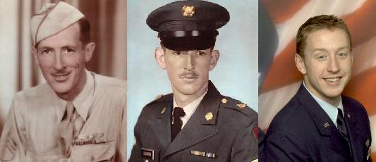 World War II veteran the late Staff Sgt. Gordon P. Gleason of Canaan, left, with his son, retired Senior Master Sgt. Michael P. Gleason of Bangor, and grandson, Chief Warrant Officer Abel P. Gleason of Bangor.