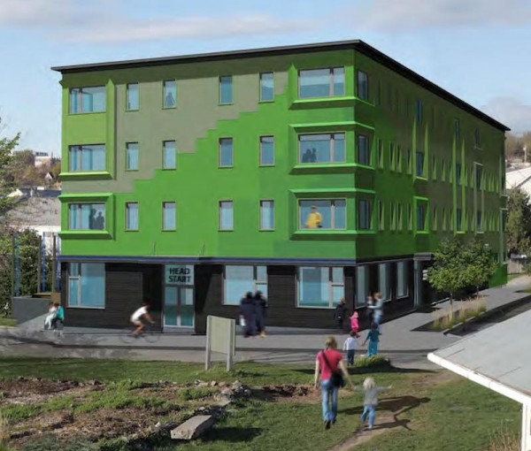 A rendering of the Bayside Anchor project shows the four-story apartment building planned for 49 Boyd St. The Portland Housing Authority will rent 36 affordable housing units and hopes construction can begin by June 2015.