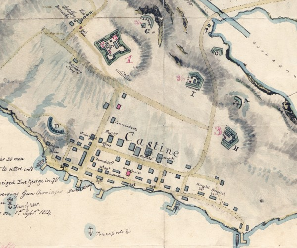 "This detailed sketch shows the position of Castine in the Bay of Penobscot, with references"", Capt. Bonneycastle, cartographer, April 1815. NSA, Royal Engineers Office no. R.9. This image shows the fortifications in Castine and the newly widened ""British Canal."""