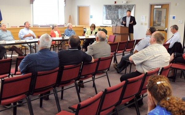 Craig Stuart-Paul, chief executive of Maryland-based Fiberight, speaks at the Municipal Review Committee board meeting at the Orono town office Wednesday.