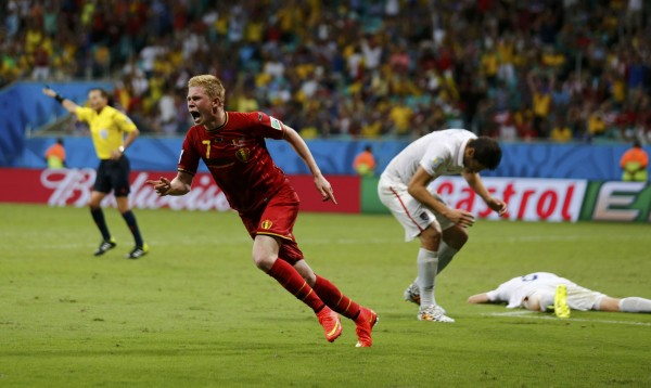 Belgium's Kevin De Bruyne (left) celebrates after scoring against the U.S. in extra time during their 2014 World Cup round of 16 game at the Fonte Nova arena in Salvador on Tuesday. Belgium won 2-1 in extra time.