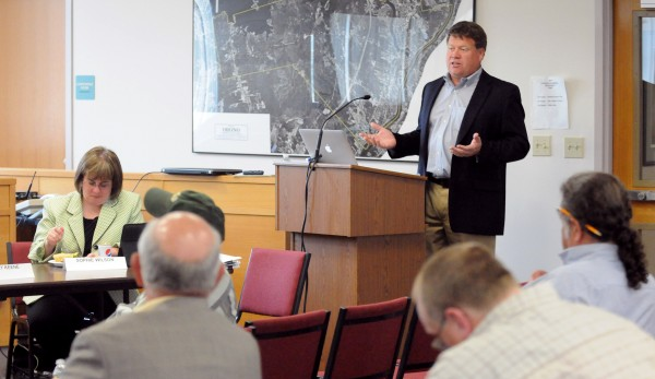 Craig Stuart-Paul, chief executive of Maryland-based Fiberight, spoke at the Municipal Review Committee board meeting at the Orono town office Wednesday.