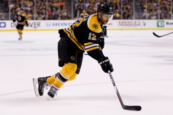 Boston Bruins right wing Jarome Iginla skates with the puck in game five of the second round of the 2014 Stanley Cup Playoffs at TD Banknorth Garden in Boston in this May 2014 file photo.