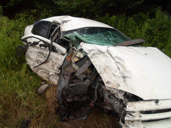 Austin White, 17, or Smyrna was driving west on County Road in New Limerick when he lost control of  his car on a turn and crashed into a tree on Sunday. White was injured, and his car was totaled.
