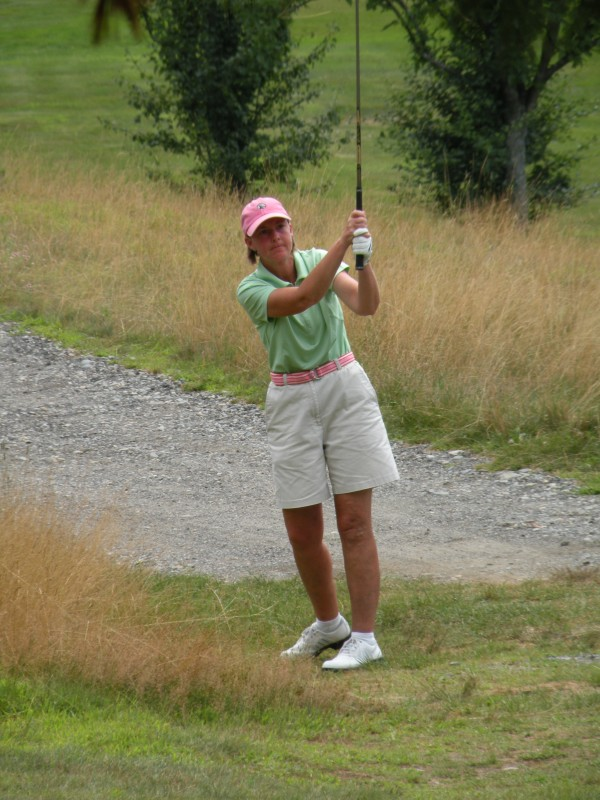 Leslie Guenther of Norway Country Club, shown playing in the 2012 Maine Women's Amateur golf tournament, is the leader going into Wednesday's final round of the 2014 event at Waterville Country Club.