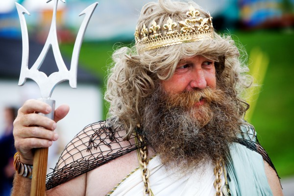 King Neptune -- also known as Syd Leach -- oversees his kingdom at the Maine Lobster Festival in Rockland on Wednesday.
