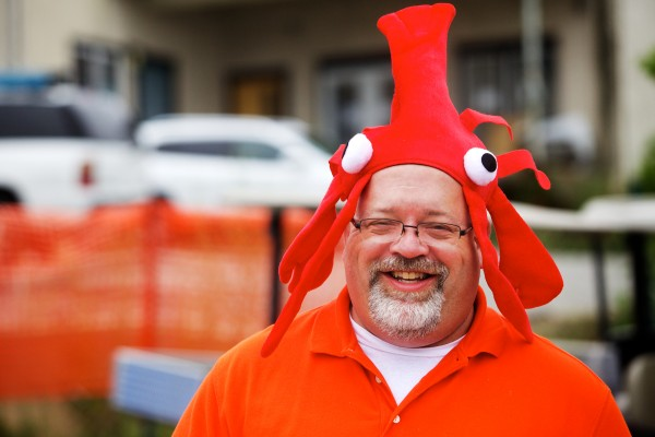 Scott Liner of Oklahoma wears a silly hat at the Maine Lobster Festival in Rockland on Wednesday.