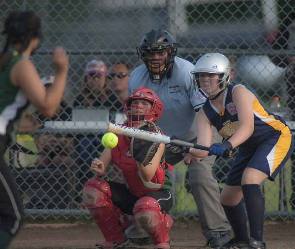 Hermon's Rachel Balmas bunts in the fifth inning on a pitch from Shaker Valley's Grace Tutt.
