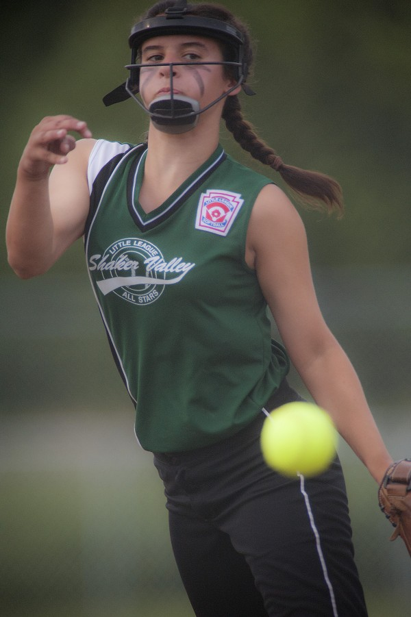 Shaker Valley pitcher Grace Tutt delivers to the plate in the second inning of their game against Hermon at the Little League state softball tourney for ages 11-12 in Hermon on Tuesday.