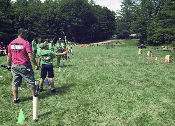 Archery is one of the many activities military youth get to experience at the Maine National Guard youth camp, held every summer at Bog Brook training facility in Gilead, Maine.